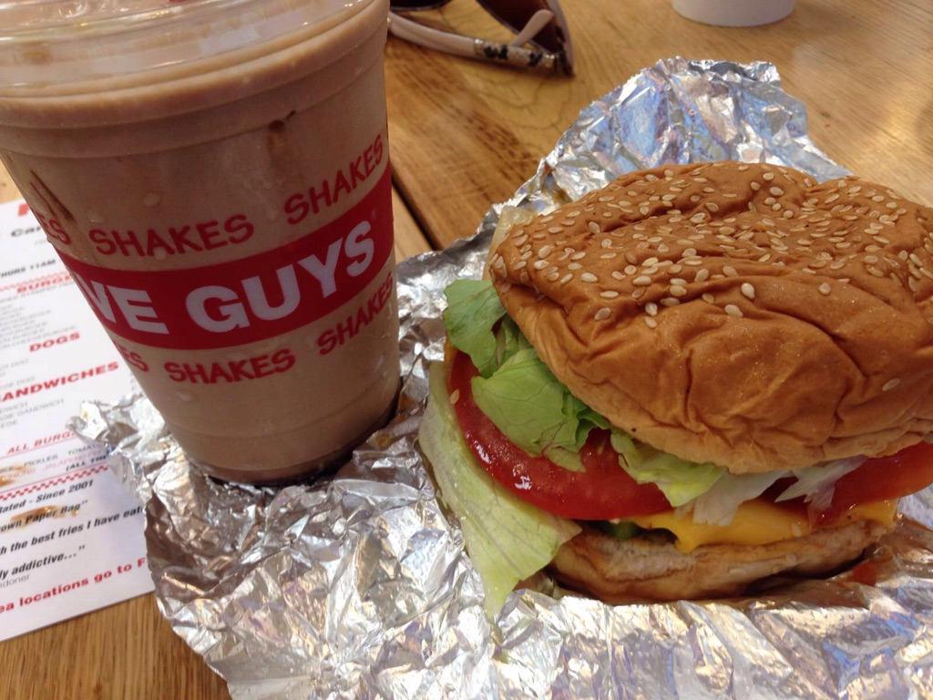 Five Guys veggie sandwich with cheese and a shake