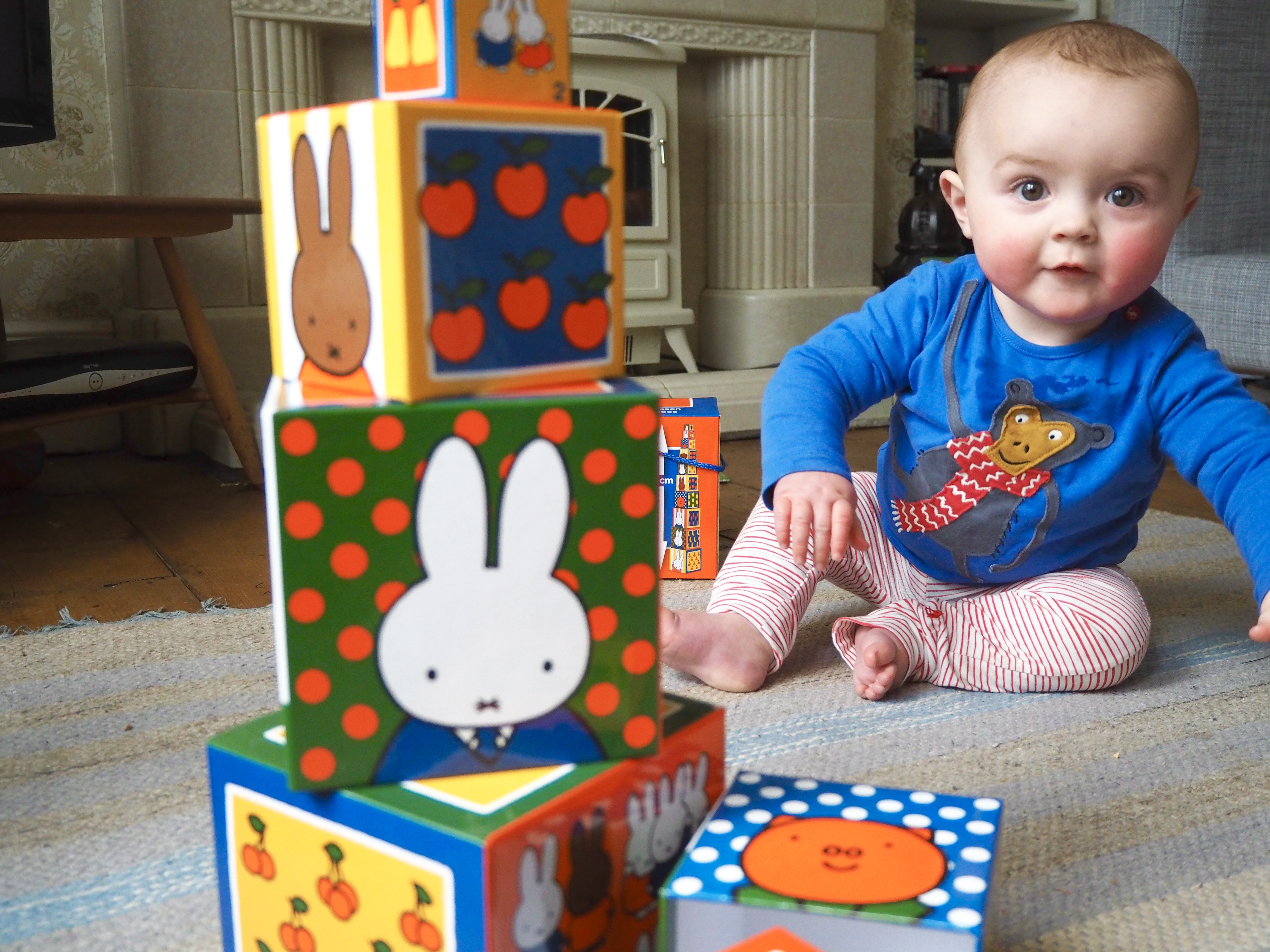 Baby s first birthday t idea MIffy stacking blocks