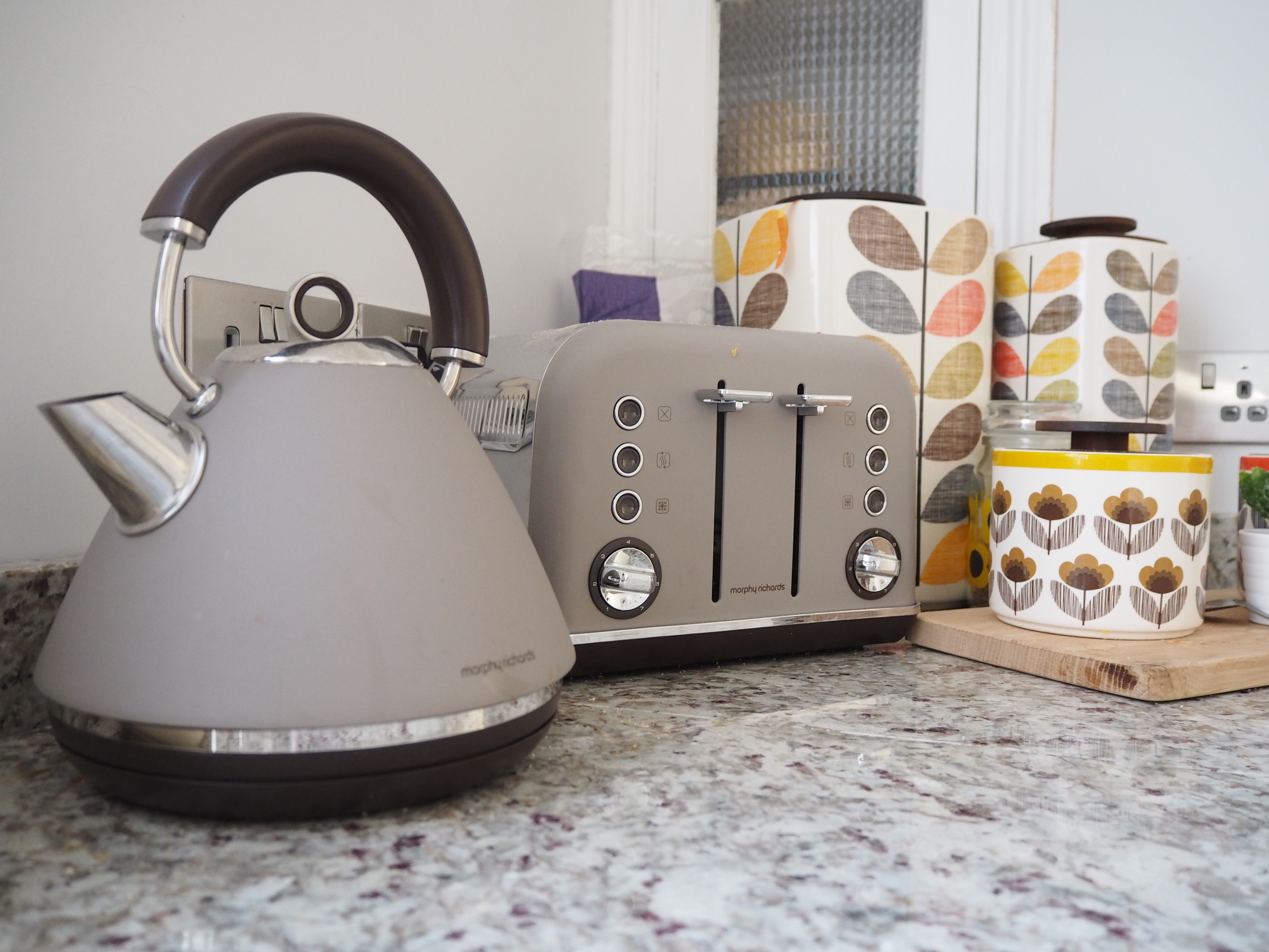 Grey Morphy Richards kettle toaster