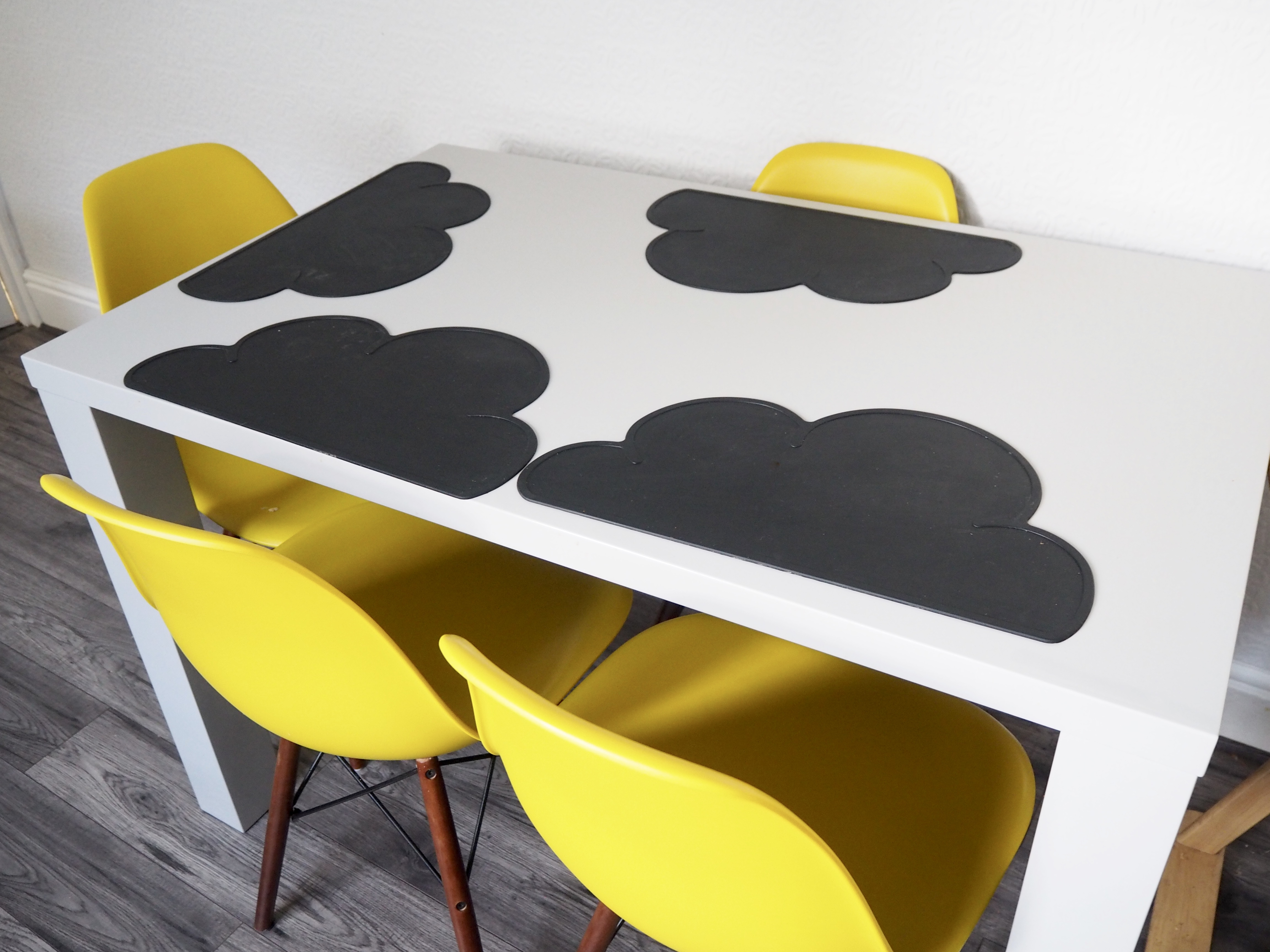 Grey gloss dining table yellow chairs