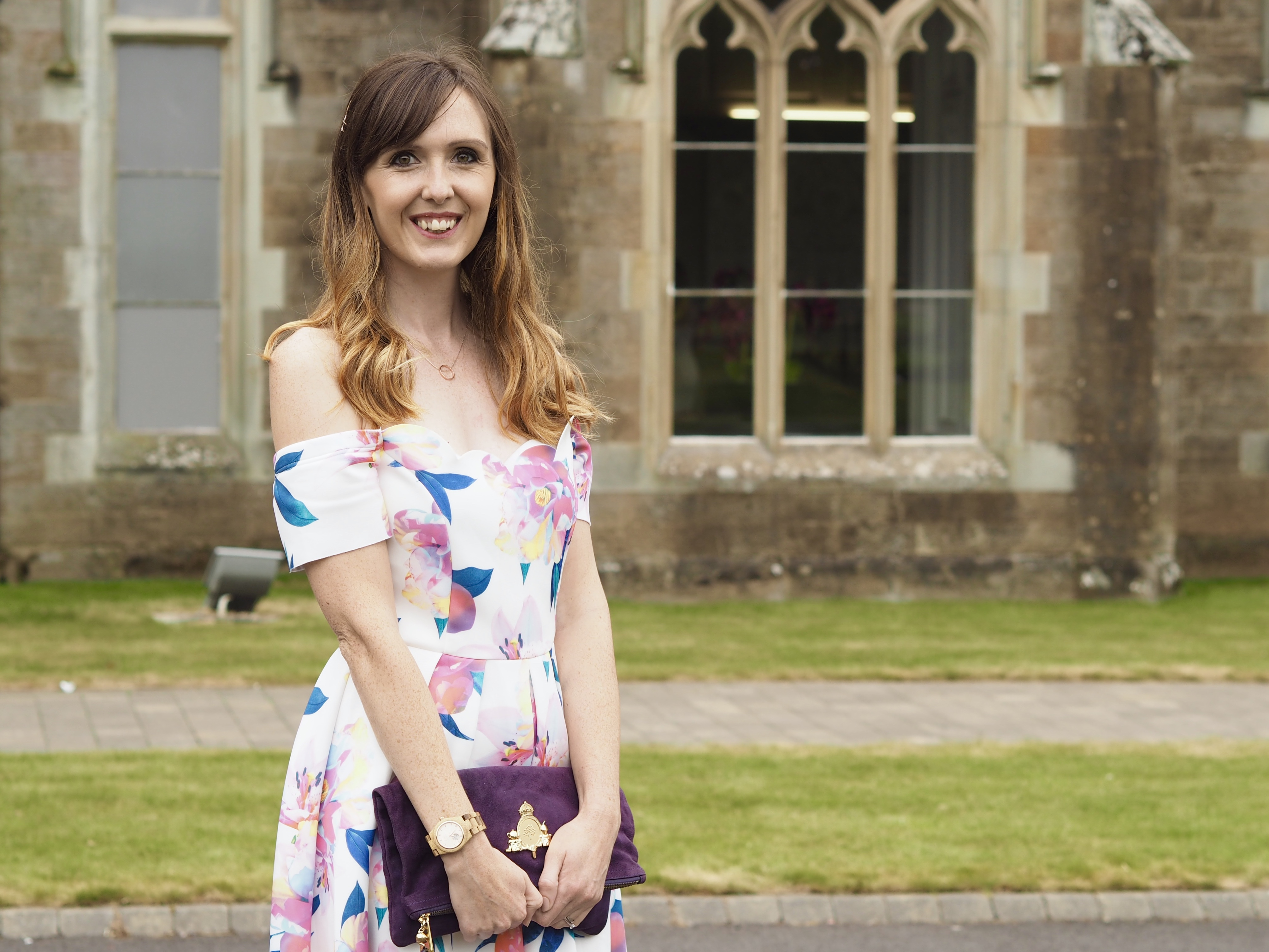 Wedding outfit: Asos floral scallop off shoulder prom dress
